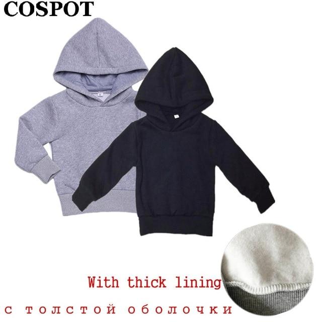 COSPOT Baby Jongens Meisjes Hoodies Jongen Meisje Sweater Kids Plain Zwart Grijs Outfits Tops Kinderen Hoodie Jongens Kleding 2019 Nieuwe 30E