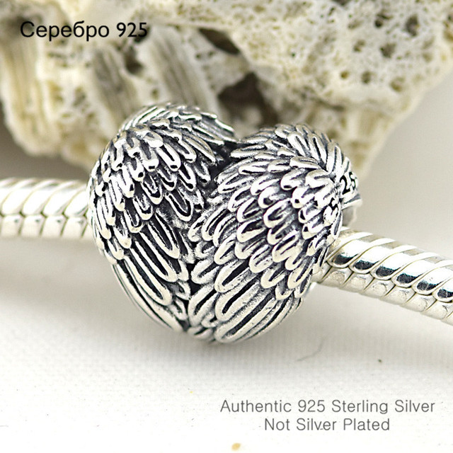 Angelic Feathers Heart Charm 925 Sterling Silver Charms Fits Pandora, European Bracelets Compatible