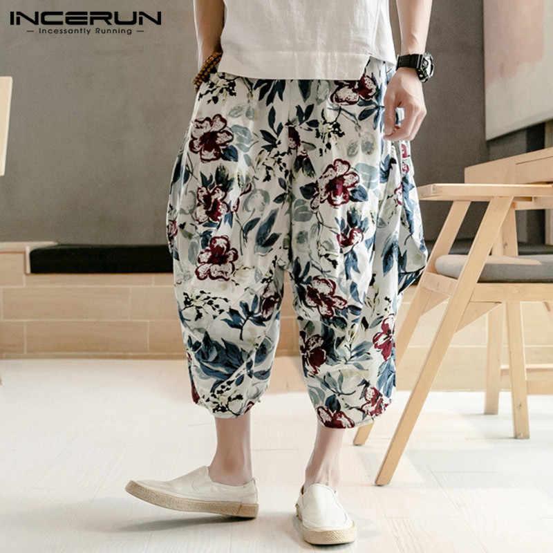 INCERUN в китайском стиле с принтом шаровары мужские штаны для бега хип-хоп мешковатые брюки со стрелкой мужские брюки длиной до икры 2019 уличная одежда