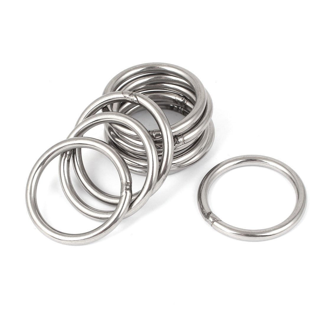 LIXF <font><b>M5</b></font> x <font><b>50mm</b></font> 304 Stainless Steel Strapping Welded Round O Rings 10 Pcs image
