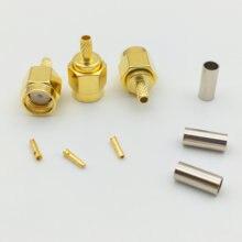 100 шт. RP SMA штекер RF коаксиальный соединитель для RG316 RG174 прямой кабель