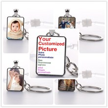 1 Pcs custom Photo Keychain Key Chains Non-faded Customized Ring of Your Baby Child Mom Dad Family Loved One Gift