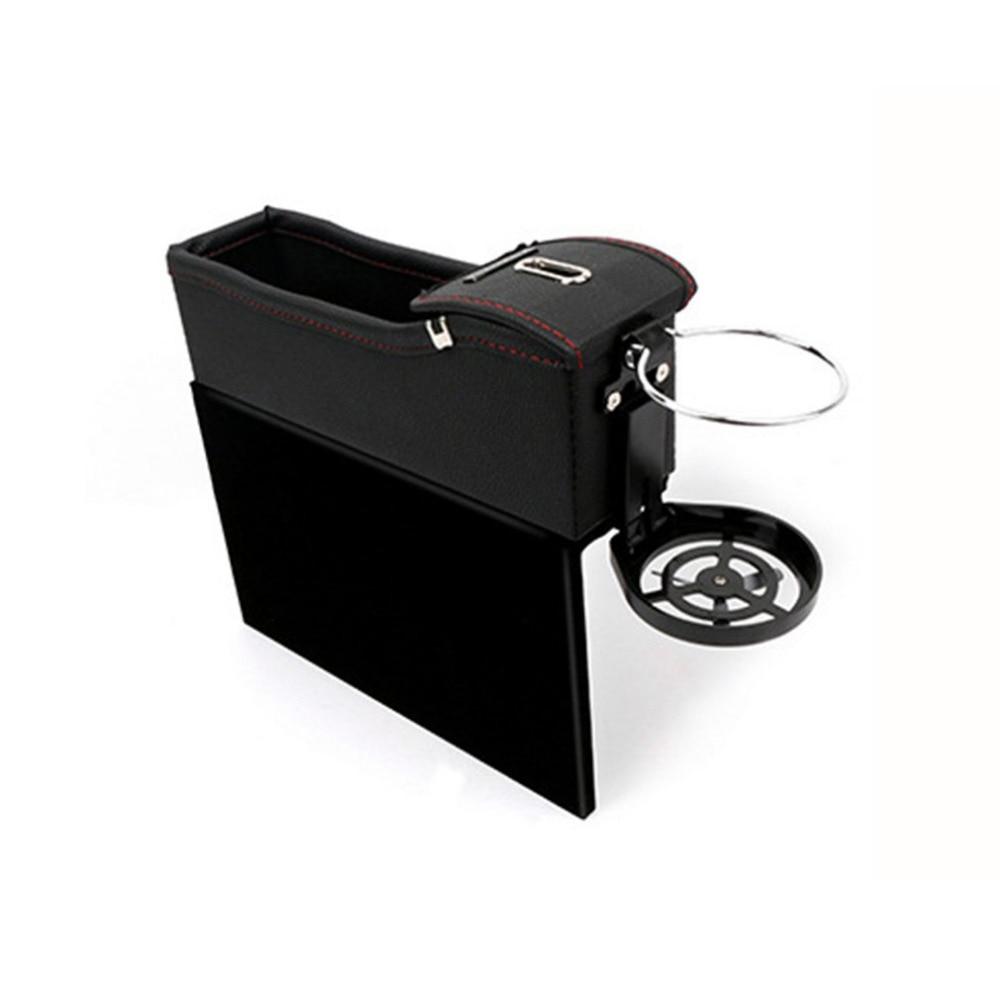 Black Car Seat Crevice Gap Pocket Faux Leather Storage Box Cup Drink Holder Organizer