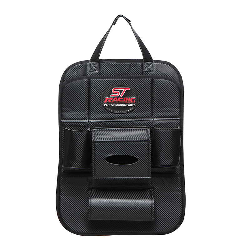 Carbon fiber style for ST emblem High quality Car seat back bag storage for ford focus 2 3 fiesta ranger fusion accessories|Stowing Tidying|   - title=