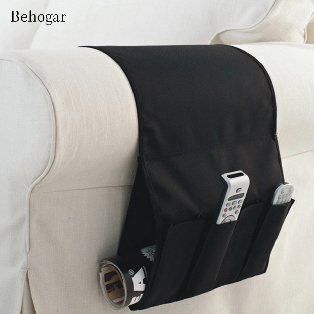 Behogar Oxford Sofa Chair Bedside Storage Organizer Bag Durable 4 Pocket Hanging Holder for Remote Control Phone Tablet Magazine