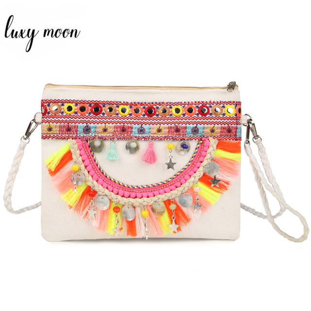 Handmade Embroidery Women Shoulder Bags Bohemian Style Beaded Tassel Purse Vintage Canvas Beach Bags Female National Wind Clutch
