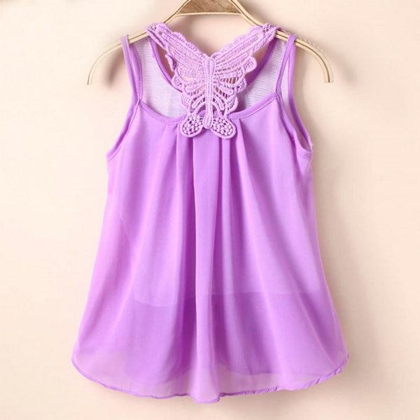 Baby Summer Sundress Kids Girl Chiffon Vest Tutu Dress Sleeveless Dress 2-7Y P1