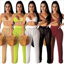 Halter Crop Top Backless Strapless Overalls Knitted Outfits Sheer Crochet Two Piece Set Solid Color Sexy Wide Leg Pants Suits