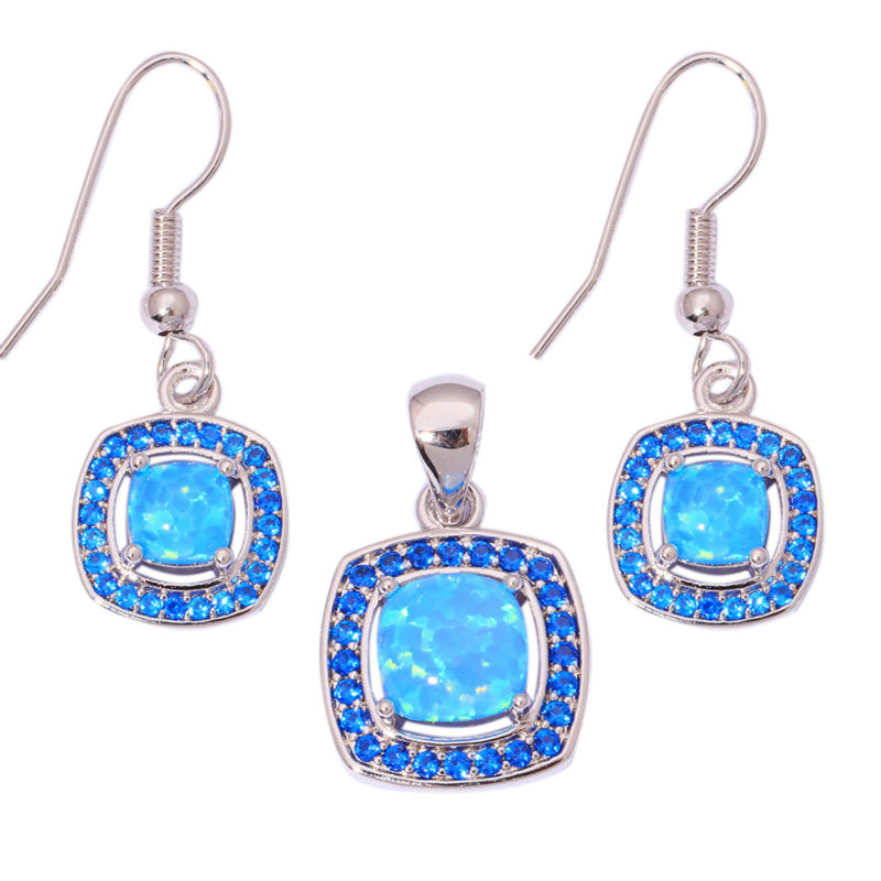 Created Blue Fire Opal Blue Zircon Silver Plated Wholesale Retail for Women Jewelry Pendant Dangle Earrings