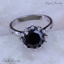 High High quality Black Onyx & Cubic Zirconia Spherical Rings, 925 Stamp Silver Plated Rings J0216 Free Transport & Jewellery Bag