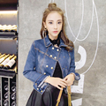 new arrived spring  Jackets woman denim Fashion Casual Turn down Collar long sleeves Slim Short Single Breasted Coat