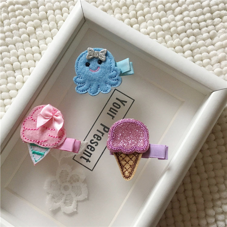 Wholesale Boutique 15pcs Fashion Cute Felt Icecream Hairpins Kawaii Solid Glitter Mini Octopus Hair Clips Headware Accessories