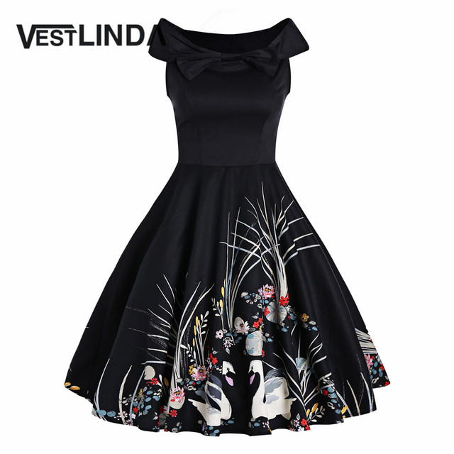 VESTLINDA Elegant Bowknot Swan Print Dress Women Black Sleeveless A Line Vintage 1950 Style Dresses Femme Party Midi Vestidos