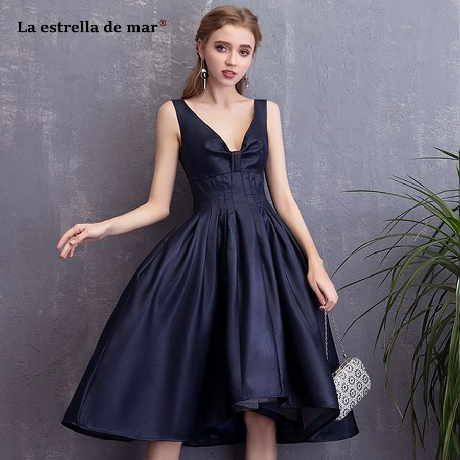Robe Cocktail NEW Satin Sexy V Neck Fluffy Navy Blue High Low Cocktail Dresses Tea Length Coctail Dress Cheap Formal Party Gown