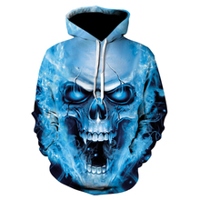 Devin Du 2018 Men 3D Fashion Casual Creativity Funny Teenagers Jacket Blue Fire Skull Print  Sleeve Loose Hooded S-5XL