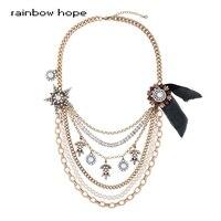 Complex handmade statement necklaces Hyperbole Multilayer Necklaces for Women Antique Gold Color Long Chain Maxi Necklace