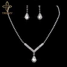 TREAZY V Shaped Teardrop Rhinestone Crystal Necklace Earrings Set For Women Silver Color Wedding Elegant Bridal Jewelry Set