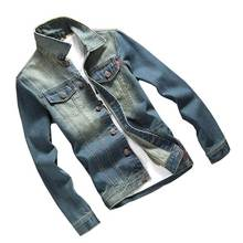 Männer slim jeansjacke retro mode großhandel herbst chaqueta hombre männer solide jean jacke slim fit outwear marke clothing 3xl