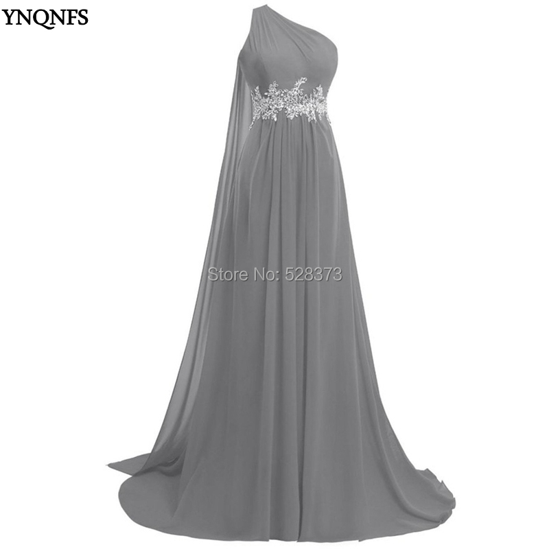 YNQNFS BD50 Real Pictures Wedding Guest   Dress   Chiffon One Shoulder   Bridesmaid     Dresses   Silver Grey/Red