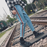 2019 Men's Fashion Side Strip Printing Leisure Blue Color Casual Pants Stretch Slim Fit Skinny High quality Cool Jeans M 2XL