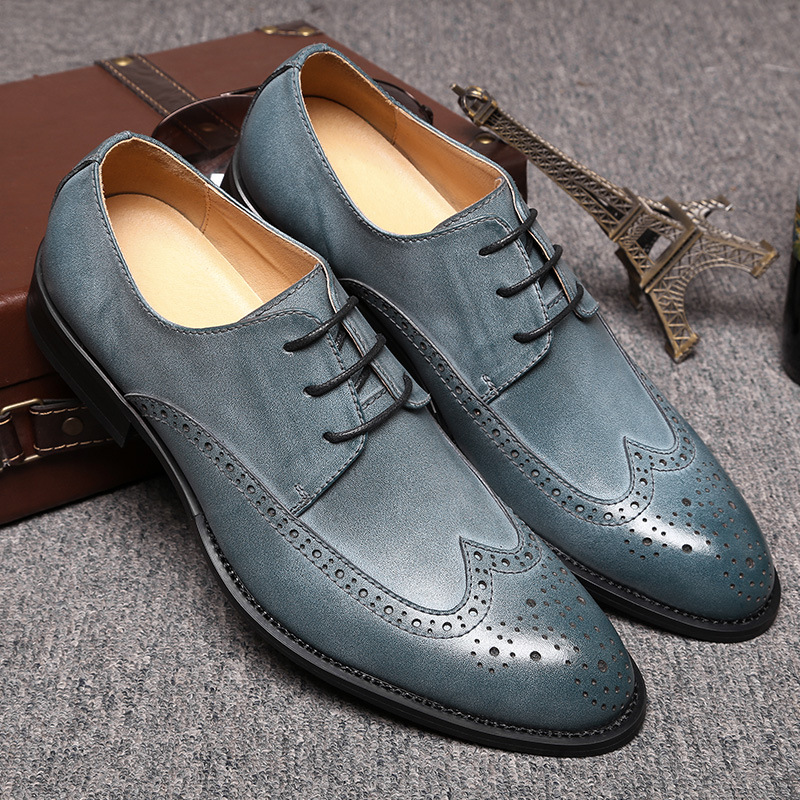 Hot Sale Sping Fashion Oxfords Formal Shoes Genuine Leather Dress Shoes Men s Brogue Carved Flats