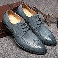 Venda quente Sping Moda Oxfords Formais Sapatos de Couro Genuíno das Sapatas De Vestido Dos Homens Brogue Esculpido Flats Zapatos Cravado Italiano Do Vintage