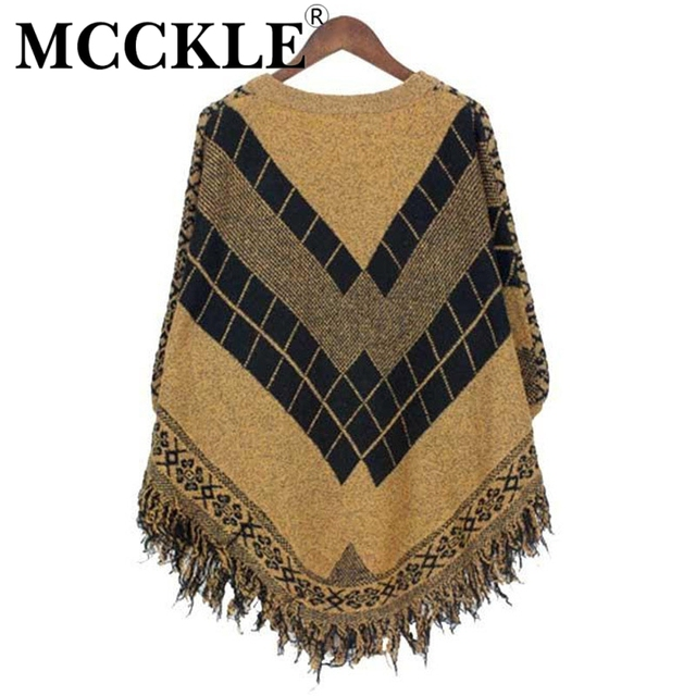 MCCKLE Women's  Fashion Knitted Sweaters Pullovers Batwing Sleeve Fringe Ponchos Wraps 2017 casual Vintage Cloaks new