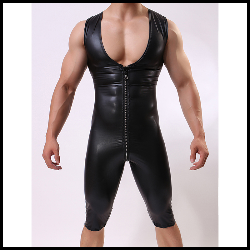 Homme Sexy noir faux cuir joint gilet Shapers/homme élastique Nylon fermeture éclair Shapewear/Gay drôle sous-vêtement body