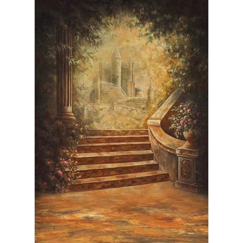 Customize washable wrinkle free rococo painting style castle photography backdrops for photo studio portrait backgrounds S-1253