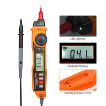 PEAKMETER Digital Multimeter Handheld Backlight LCD Display Pen Type with Non Contact ACV/DCV Electric Handheld Tester protmex pt6208a lcd display high performance revolution meter contact type digital tachometer with data logging backlight