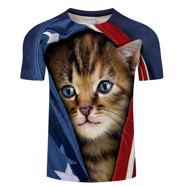 Cat& 3D t-shirt Tees Worsted printed T-shirt for men and women, summer casual T-shirt with short sleeves, o collar tops&tee