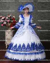 Victorian Gothic Fairy Princess Brocade Ball Gown Period Dress Reenactment Theater Clothing Costumes