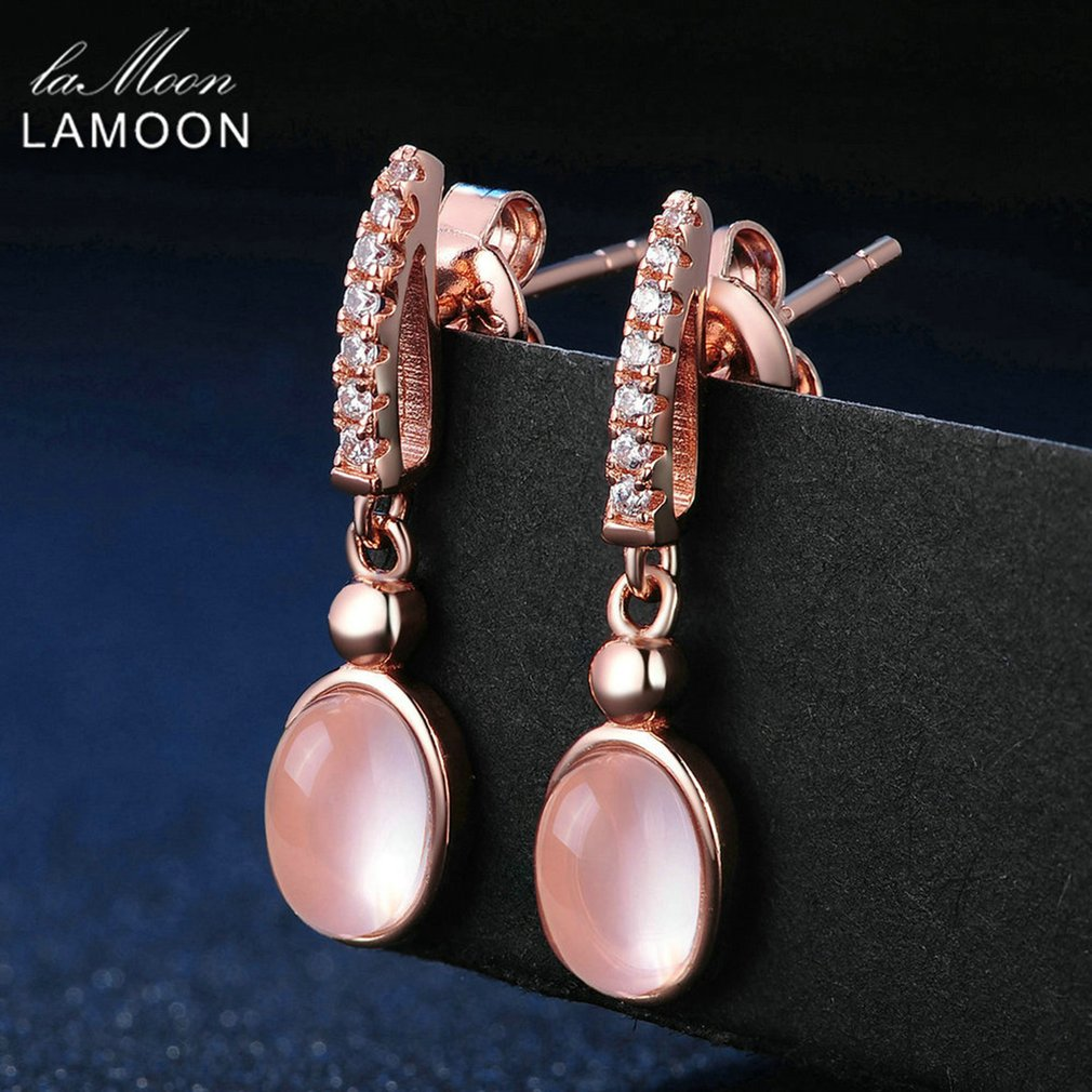 LAMOON Drop Earrings 925 Sterling Silver Oval Earrings Natrual Gemstone Rose Quartz Rose Earrings Fine Jewelry For Women