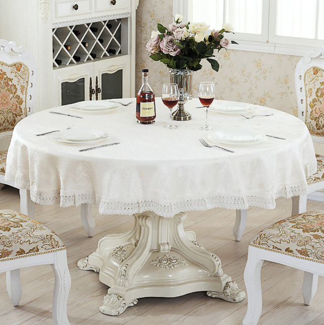 New Elegant Flowers Jacquard Round Tablecloth Rectangular Side Table Furniture Covers All Purpose Cover Cloth Square Ne Zc036