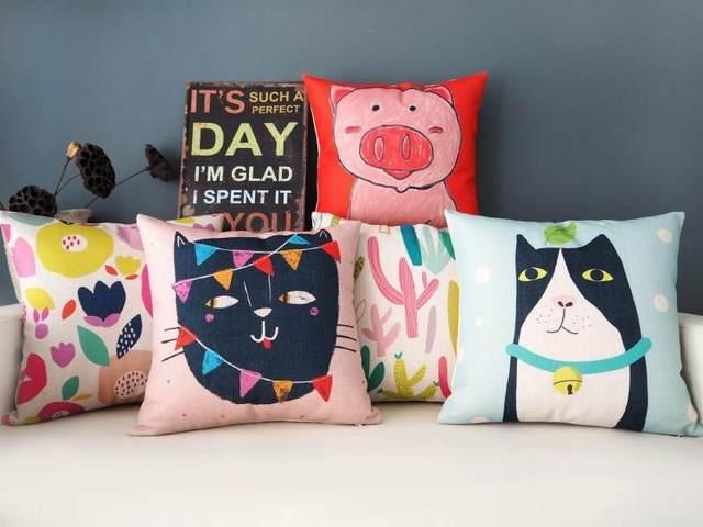 Online Shop Korean Small Fresh Art Pillowcase Cactus Cat Pig Lovers Unique Small Decorative Pillows Sale