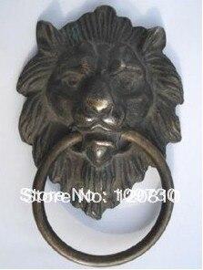 Bh 009 Free Ship Chinese Bronze Fierce Lion Head Door Knocker 4.4