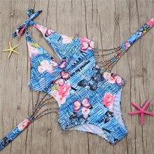 цена Swimwear Women Printed Swimwear Female Sexy Strappy Indoor Swimsuit for Woman Bather Suits Push Up One Piece Swimsuit в интернет-магазинах