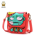 6 Colors candy color women's cross-body handbag fashion cartoon print one shoulder cross-body bag small doodle bag