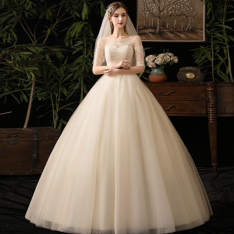 2019 New Sexy Illusion O Neck Half Sleeve Wedding Dress Lace Applique Plus Size Custom Made Slim Bridal Gown Vestido De Noiva L