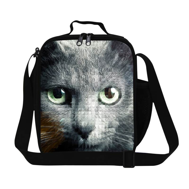 Dispalang Cat Print Insulated Travel Picnic Bag For Kids Students Animal Lunch Bag Womens Food Container Thermal Shoulder Bag