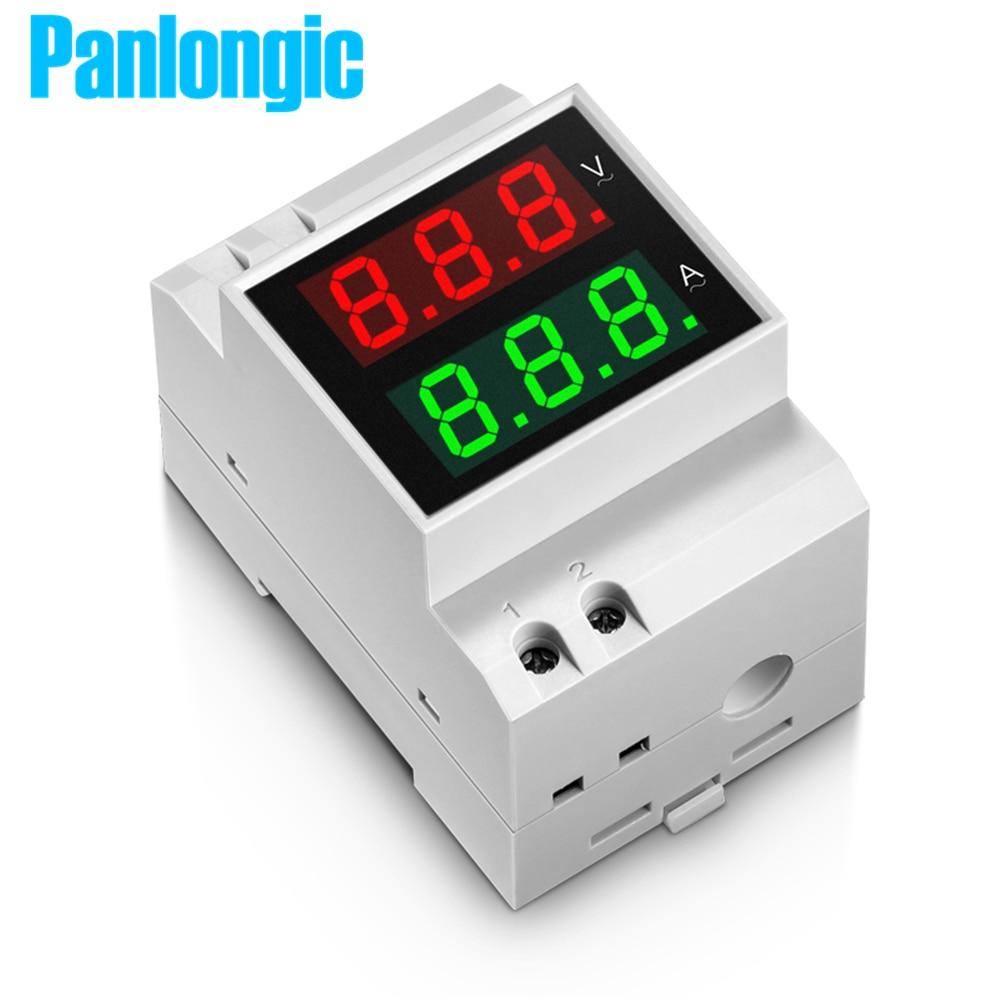 Din-рейку двойной светодиодной Дисплей Напряжение и измеритель тока din-рейку Вольтметр Амперметр диапазон AC 80-300 В 0.1-99.9a