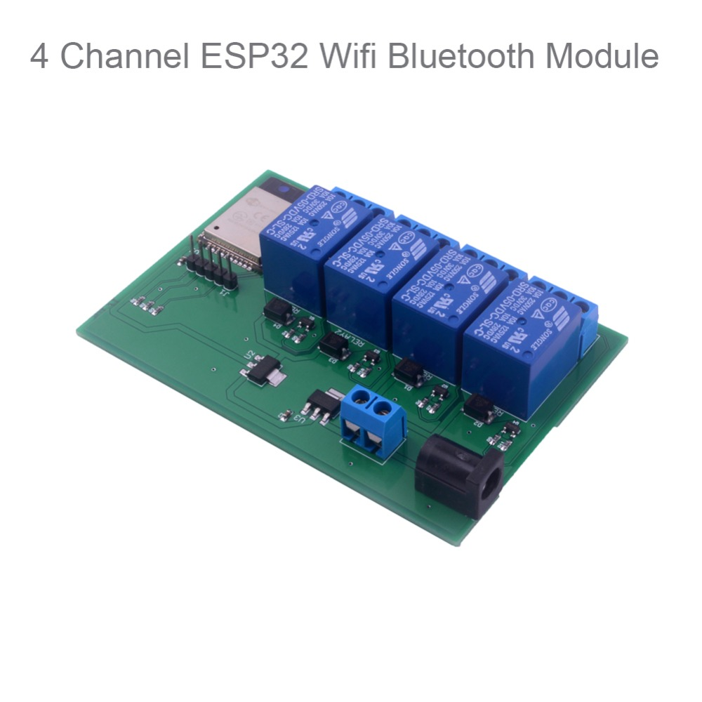 ESP32S 4 Channel Wifi Bluetooth Network Relay Module IOT Phone APP Control, Support For Android APP For Smart Home DIYMall