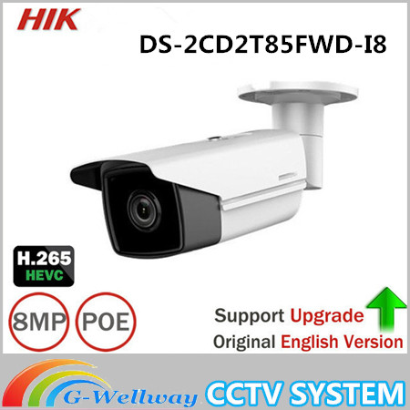 Hikvision DS-2CD2T85FWD-I8 8MP Network Bullet IP Camera Outdoor POE SD card 80m IR H265 CMOS DC12V Face Detection ONVIF Infrared hik ip camera ds 2cd4026fwd ap ultra low light 128gb onvif rj45 intrusion detection face detection recognition