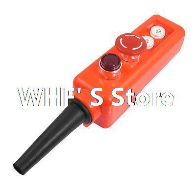 все цены на  220V Red Light Mushroom Emergency Stop Up Down Hoist Crane Push Button Switch  онлайн