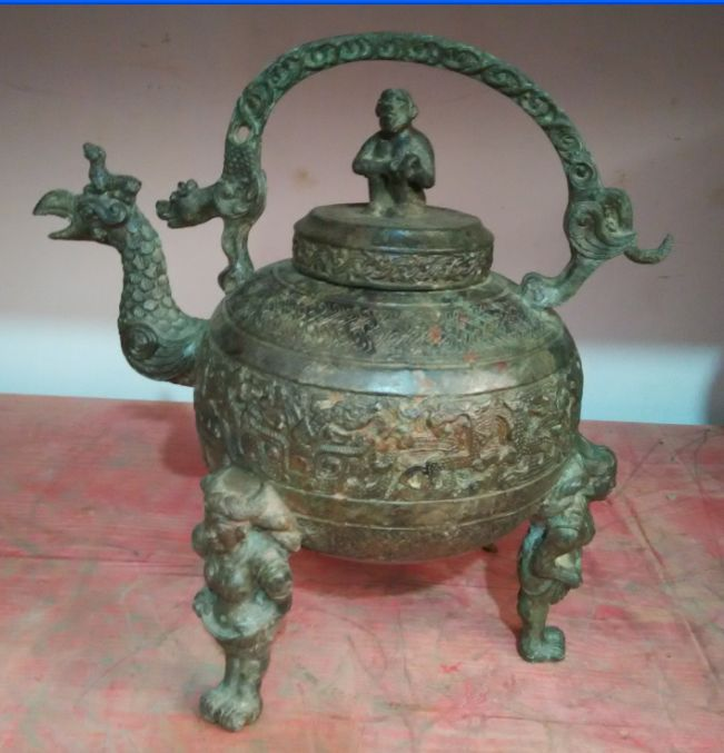 45 cm */théière de singe oiseau en cuivre de collection ancienne chinoise élaborée