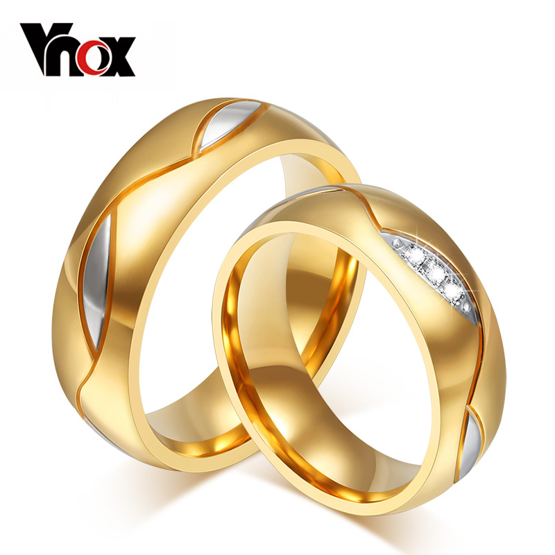 Vnox Wedding Ring for Women / Men Gold Color Zircon CZ Stone 316l Stainless Steel Finger Jewelry