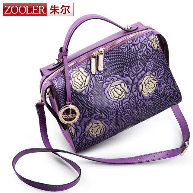 ZOOLER New Fashion Women Genuine Embossed Leather Handbag Vintage Trend Female Crossbody Messenger Shoulder Bag Ladies Tote Bags