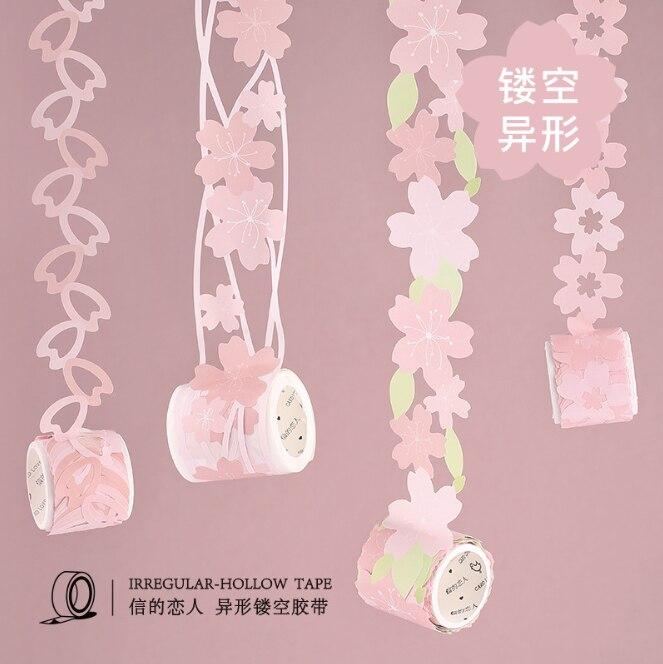 1 Pcs DIY Cartoon Paper Washi Masking Tapes  Sakura Flower Hollow Decorative Adhesive Tape MEETAPE/School Supplies