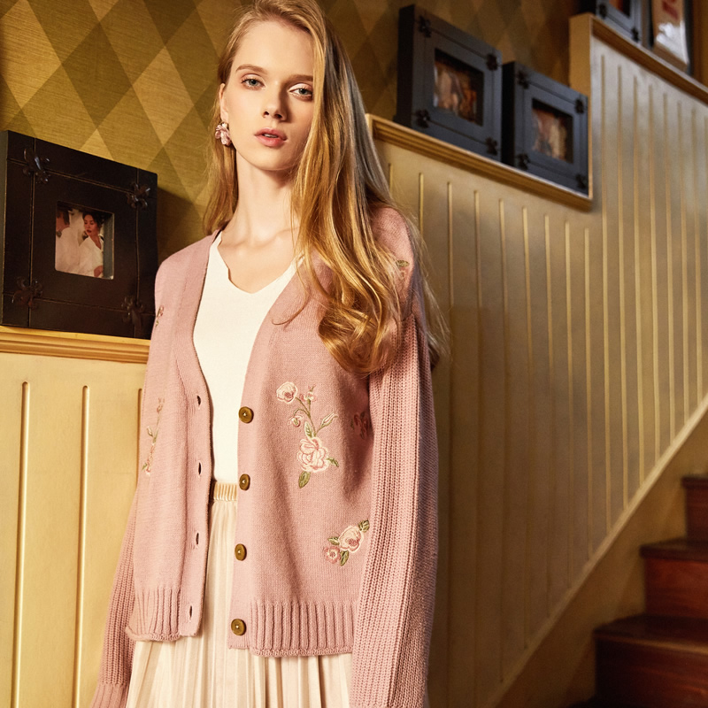 Artka Spring 2018 New Female Loose Embroidered Sweet Pink Full Sleeve V Neck Single Breasted Knitted Cardigan Coat WB10383C