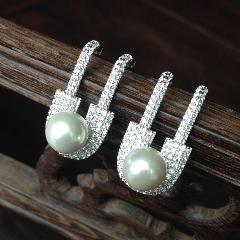 Brand Paper clip pin Design natural pearl earrings 925 sterlin silver jewelry full zircons Women Earrings oorbellen voor vrouwen